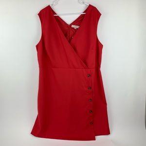 LOFT Plus Dress Red Surplice Buttons Size 18